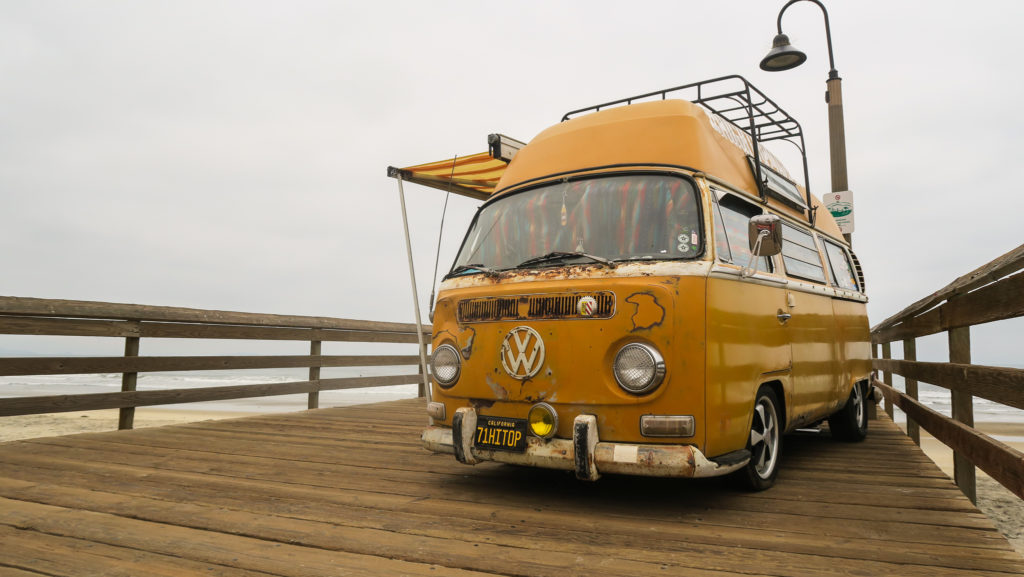 vw bus on pier