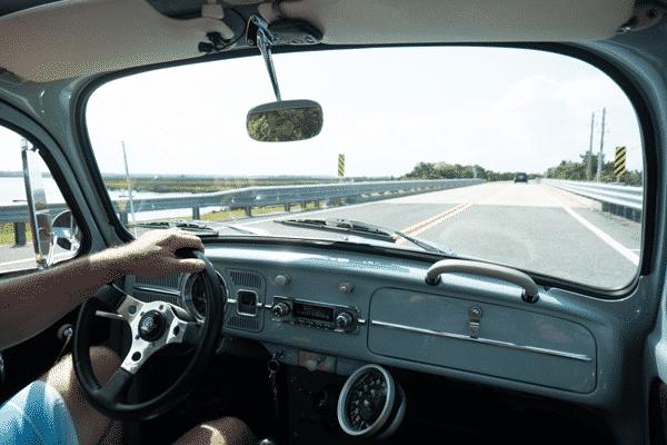 driving vw bug